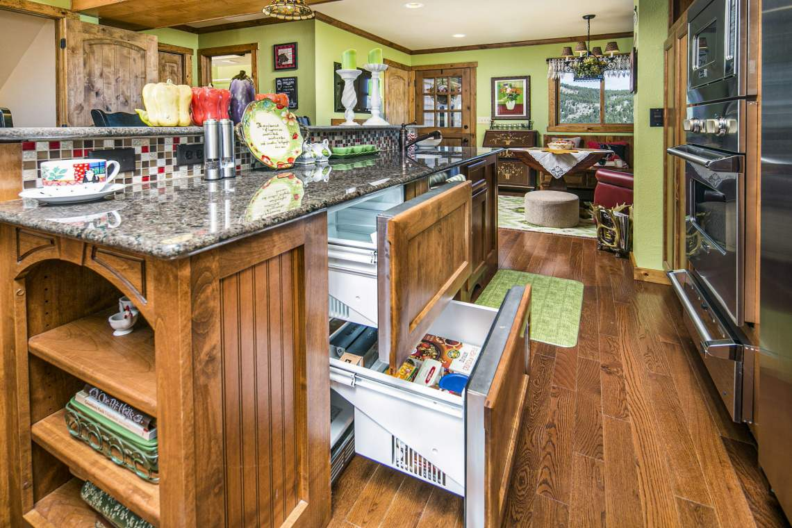 Double In-Drawer Refrigerator with Auto-Return Custom Cabinetry.