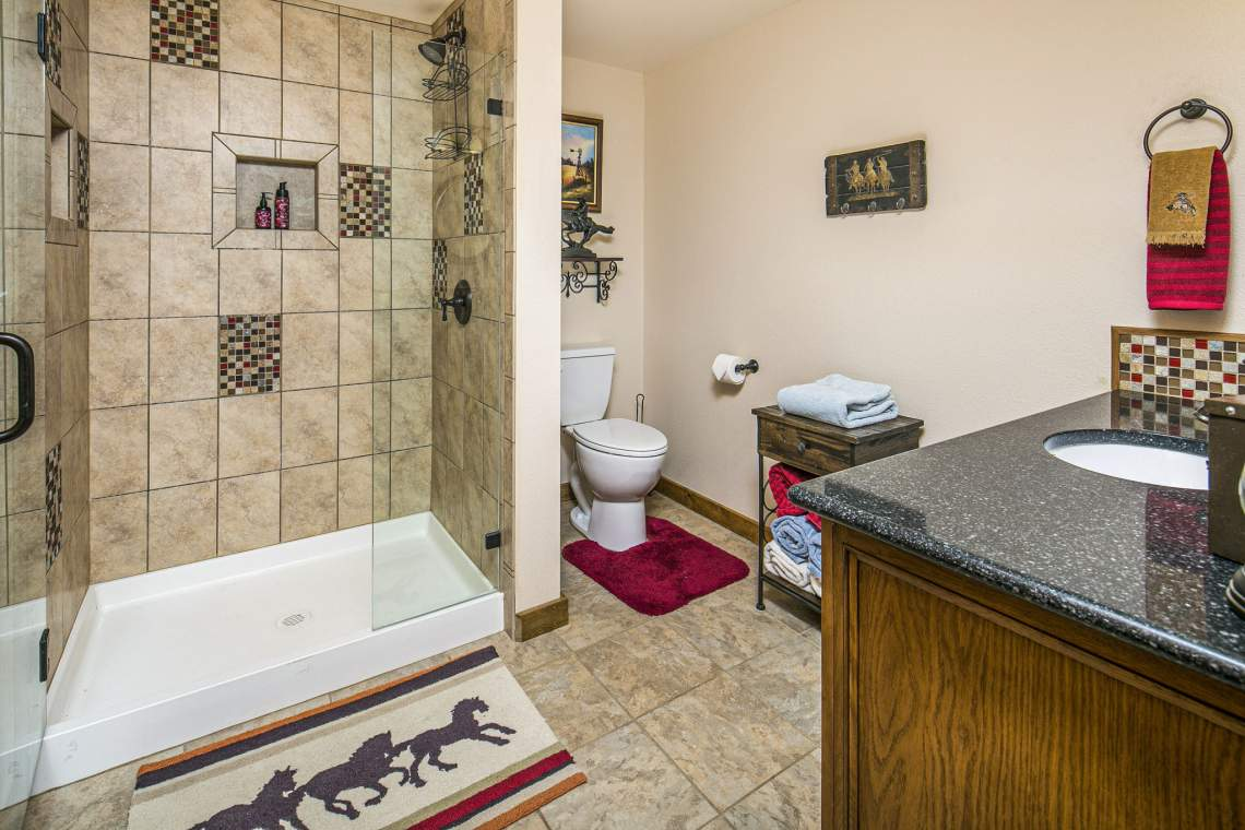 Full Bathroom Attached to Bedroom and Hallway in Basement. Includes Stand-Up Shower!