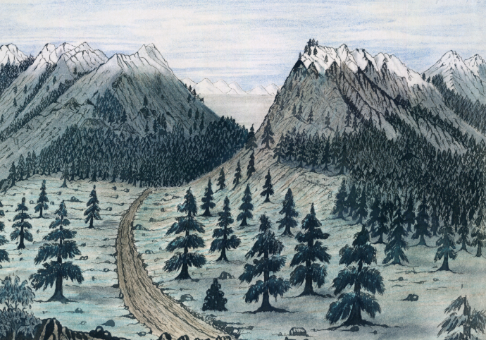Painting of Cache la Poudre and Rocky Mountains