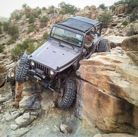 Jeep Rock Crawling in Mountains
