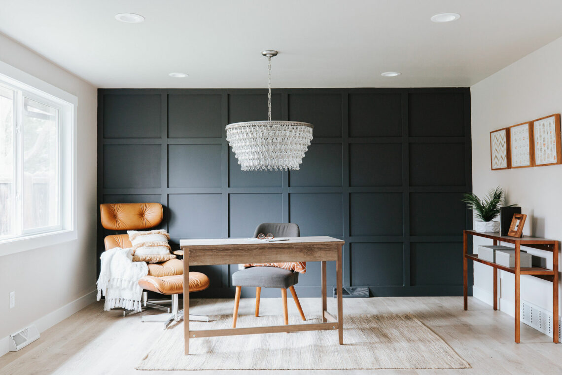 The home office with a focal wall