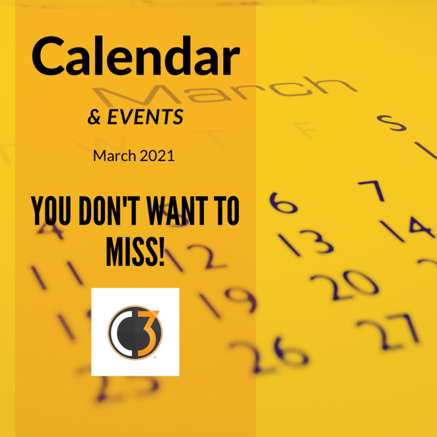 Calendar of Events for March 2021